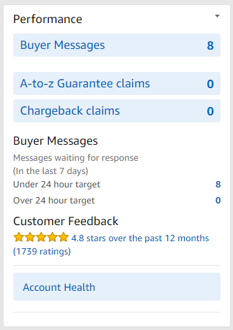 amazon seller central Performance