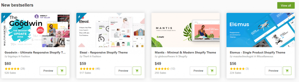 envato New bestsellers